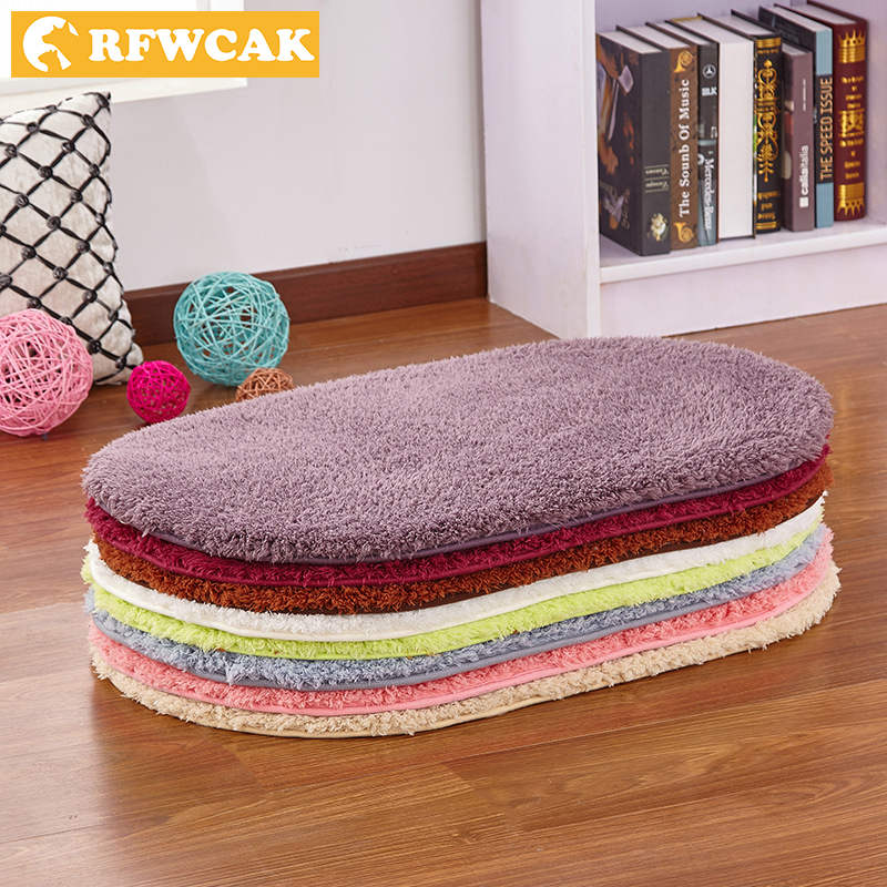 RFWCAK Modern Simple Thickened Oval Bathroom Door Anti-skid Absorbent Mats Bedroom Entrance Kitchen Bathroom Bathroom Door Mat