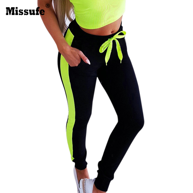 Missufe Sexy Patchwork Neon Legins For Women High Waist Drawstring Casual Pencil Femme Legging Sporty Fitness Leggings Panties