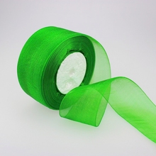 (10 yards/lot) 2'' (50mm) green organza ribbons wholesale gift wrapping decoration Christmas ribbons D019(China)