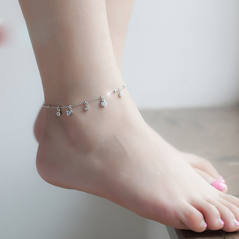 925 Sterling Silver with Platinum Plated Hearts CZ Diamond Anklets Women Fashion Brand Jewelry Accessories SA048