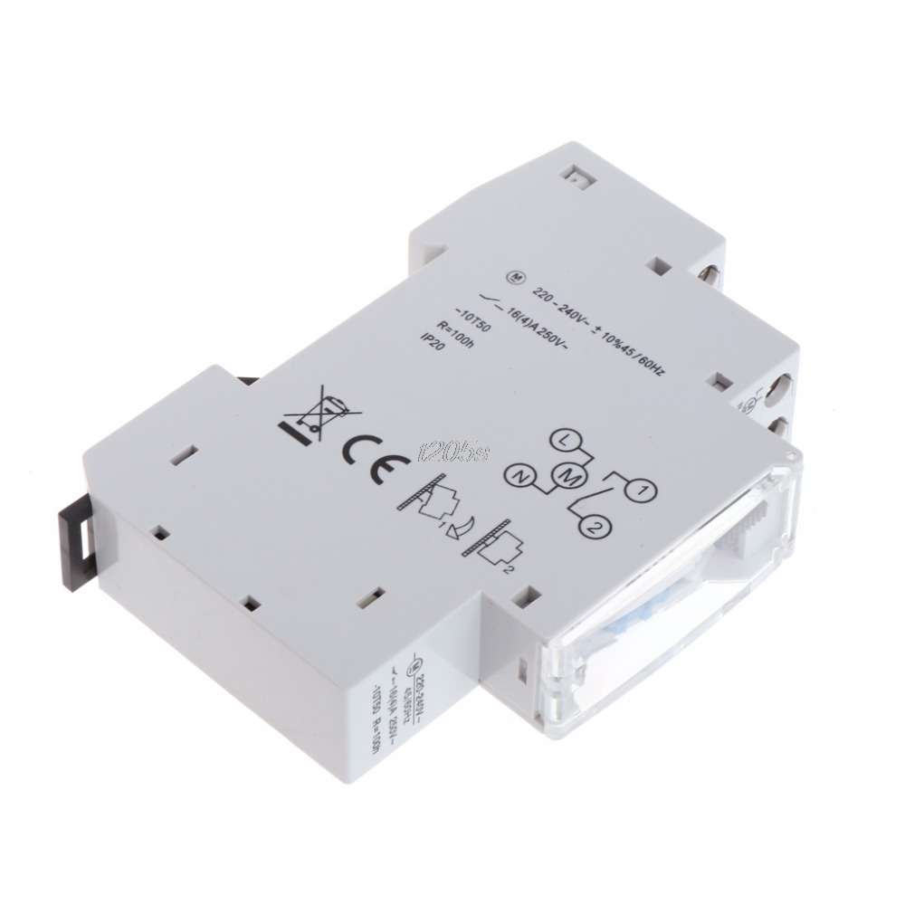 Mechanical 24 Hours Programmable Din Rail Timer Switch Relay 110-240V 16A Time Switches T12 Drop ship 2pcs lot brand new sul 181d analog 24 hours mechanical din rail timer switch 15minutes