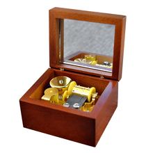 Antique Wood Hand Crank Gold Movement Mirror Music Box Great Gift for Friend 8.0cm X 5.5 X 4.0cm Hot Selling