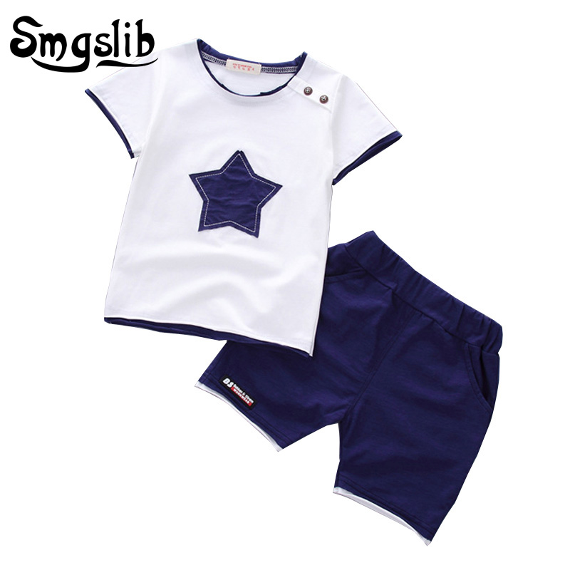 Smgslib Baby Boy Clothes summer children clothing Cartoon 2018 New Kids Cotton Cute Stars Sets baby boy outfit costumes baby