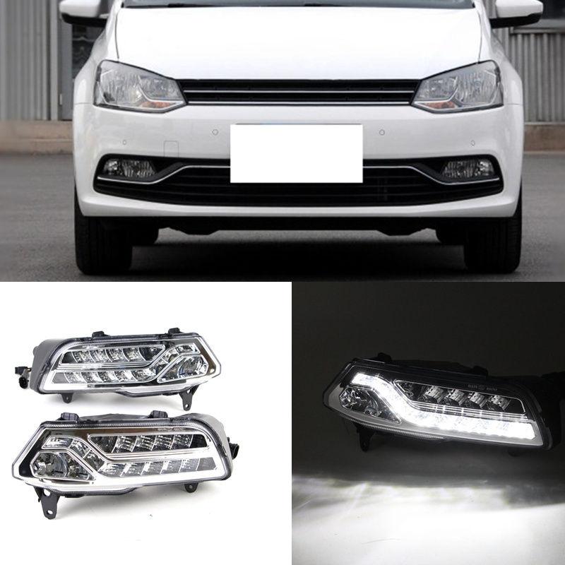Pour Volkswagen Polo 2014-2016 2 pièces blanc DRL feux de jour lampe de conduite