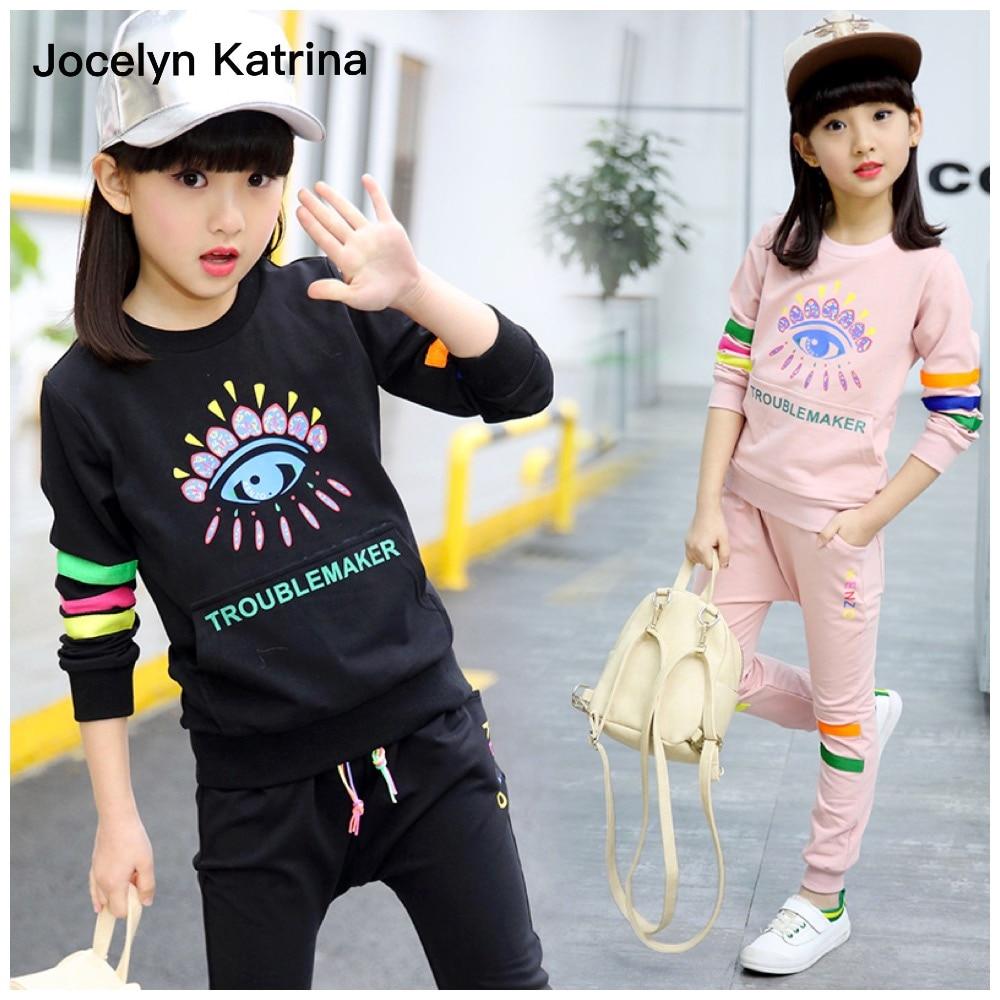 Jocelyn Katrina 2017 Spring Kids Girls Clothes Children Clothing Set Sweatshirt+Pants Two-Piece Sport Suits 5 Colors Age 3-15T