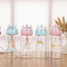 340ML Sequined Cartoon Unicorn Glass Water Bottle with Rope