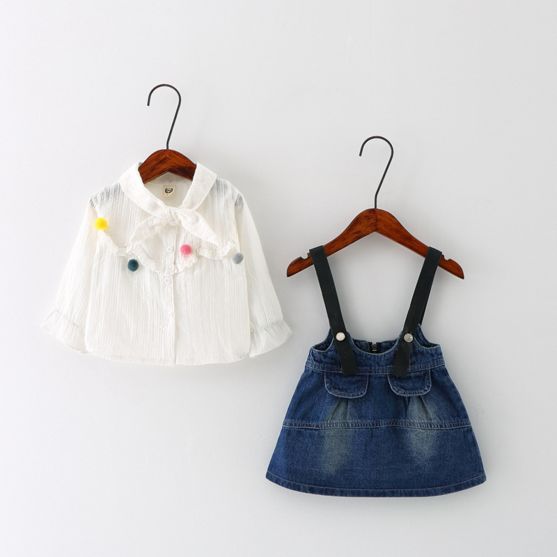 New 2017 Kids Clothes Fashion Girls Clothing Set Cotton Long Sleeve Shirt+Denim Dress Outfits Baby Girl Clothes Suits 2pcs fashion kids baby girl dress clothes grey sweater top with dresses costume cotton children clothing girls set 2 pcs 2 7 years