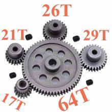 Pignon de pignon en métal en acier Diff, engrenage principal 64T, moteur 17T 21T 26T 29T 11184, 11189, 11176, 11181 pour camion RC HSP Redcat RC