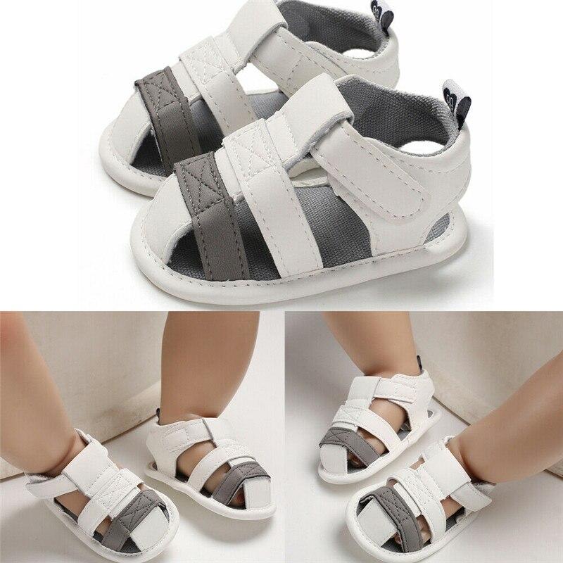 2019 Newborn Baby Boy Soft Sole White Crib Shoes Toddler Summer Sandals Size 0-18 M