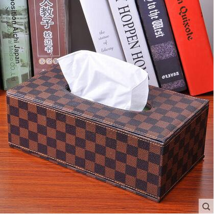 Rectange wooden leather tissue box canister holder napkin box toilet paper holder dispenser case home office carZJH246