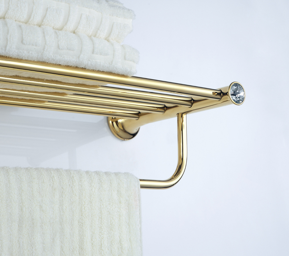 FREE SHIPPING  GOLD clour crystal double towel shelf bathroom bathtowel bar free ship gold clour bathroom crystal bathtowel racks bathtowel shelf towel holder