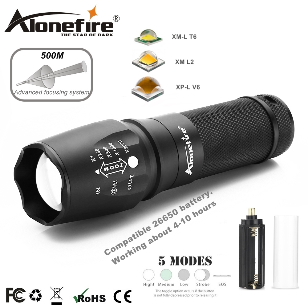 AloneFire X800 XM-L T6 L2 5000LM Aluminum Waterproof Zoomable CREE LED Flashlight Torch for AAA 18650 26650 Rechargeable Battery leshp xm l t6 5000lm aluminum waterproof zoomable cree 5 mode led flashlight torch light for 18650 rechargeable battery or aaa