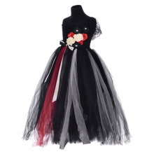 Black Embroidered Lace Fabric Shoulder Straps Flower Tutu Dress Summer Girls Clothing Christmas Princess for Kids 8Y