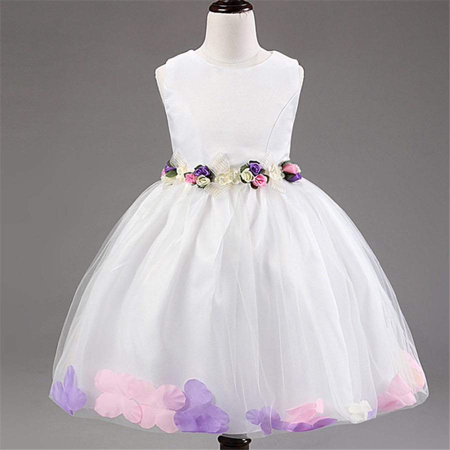 Flower 2-10 Years Girl Summer Sleeveless Dresses Gown Formal  for Girls Clothes Party Princess Dress Children Clothes XD3-D girl summer dress for 12 years old sleeveless children printed cartoon princess graffiti dress children polyester girl clothes