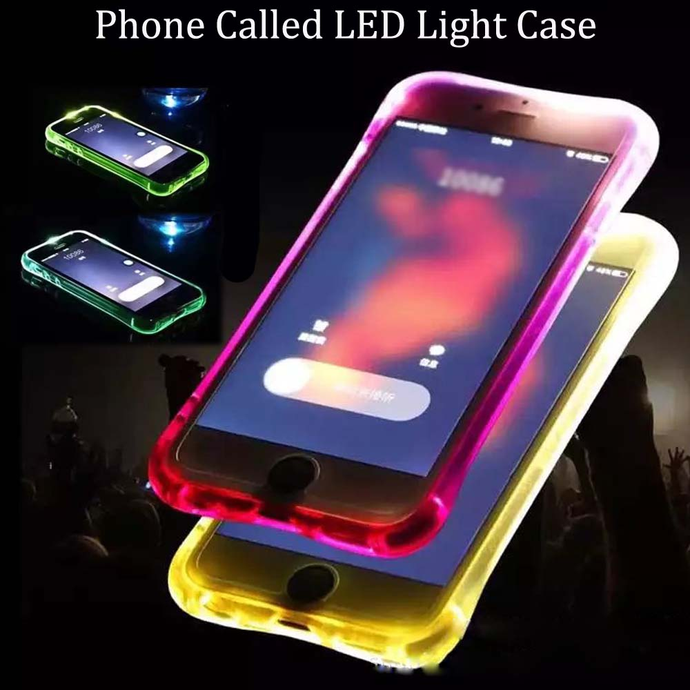 Fashion LED Flash Light Phone Case For iPhone X 8 8Plus 6 6s Plus 5 5s Luminous Glitter Clear Case for iPhone 7 7Plus Back Cover