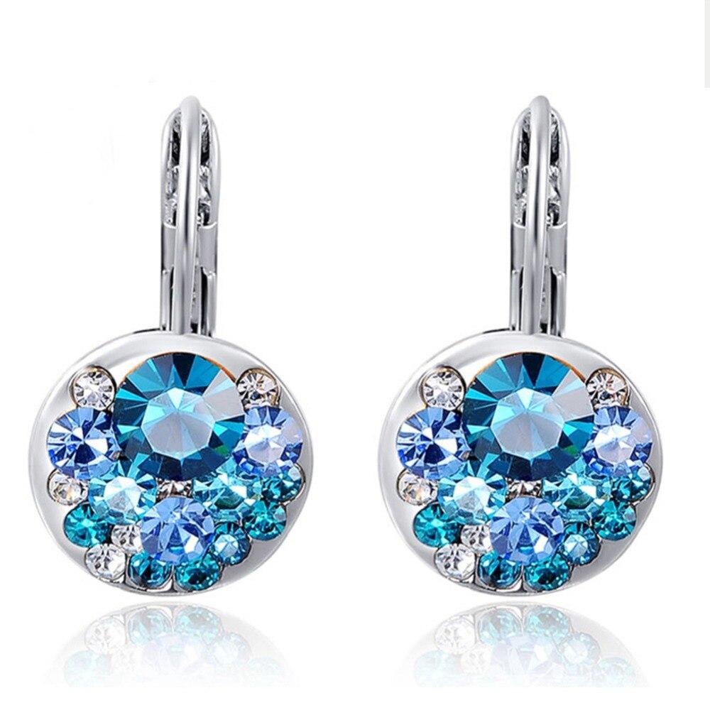 Модные круглые серьги с кристаллами циркония, полностью блестящие посеребренные серьги из розового золота, свадебные подарки для женщин и ...