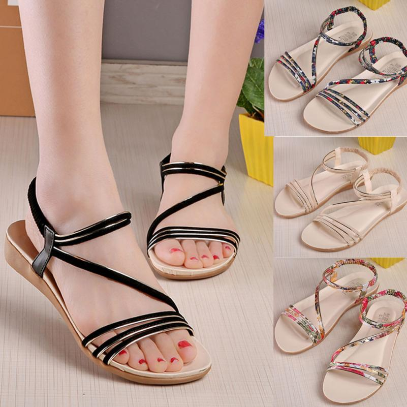 Summer Women Ladies Sandals Cross Strap Flat Ankle Roman