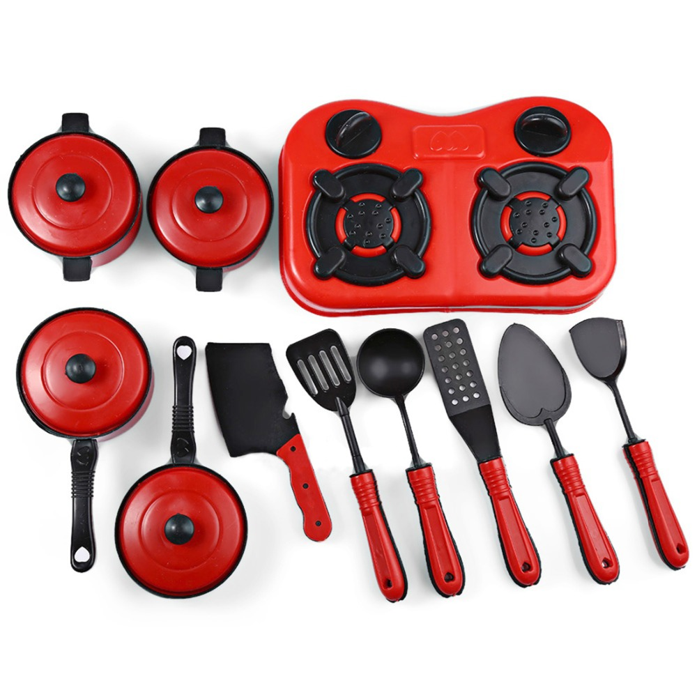 Mini Kitchen Cooking Toys Set Kitchen Appliance Play Food Toy for Kids Red 11Pcs/Set