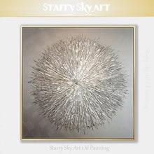 Pintura a óleo especial artista pintados à mão de alta qualidade faca de prata pintura a óleo grossa abstrata moderna cinza prata pintura a óleo