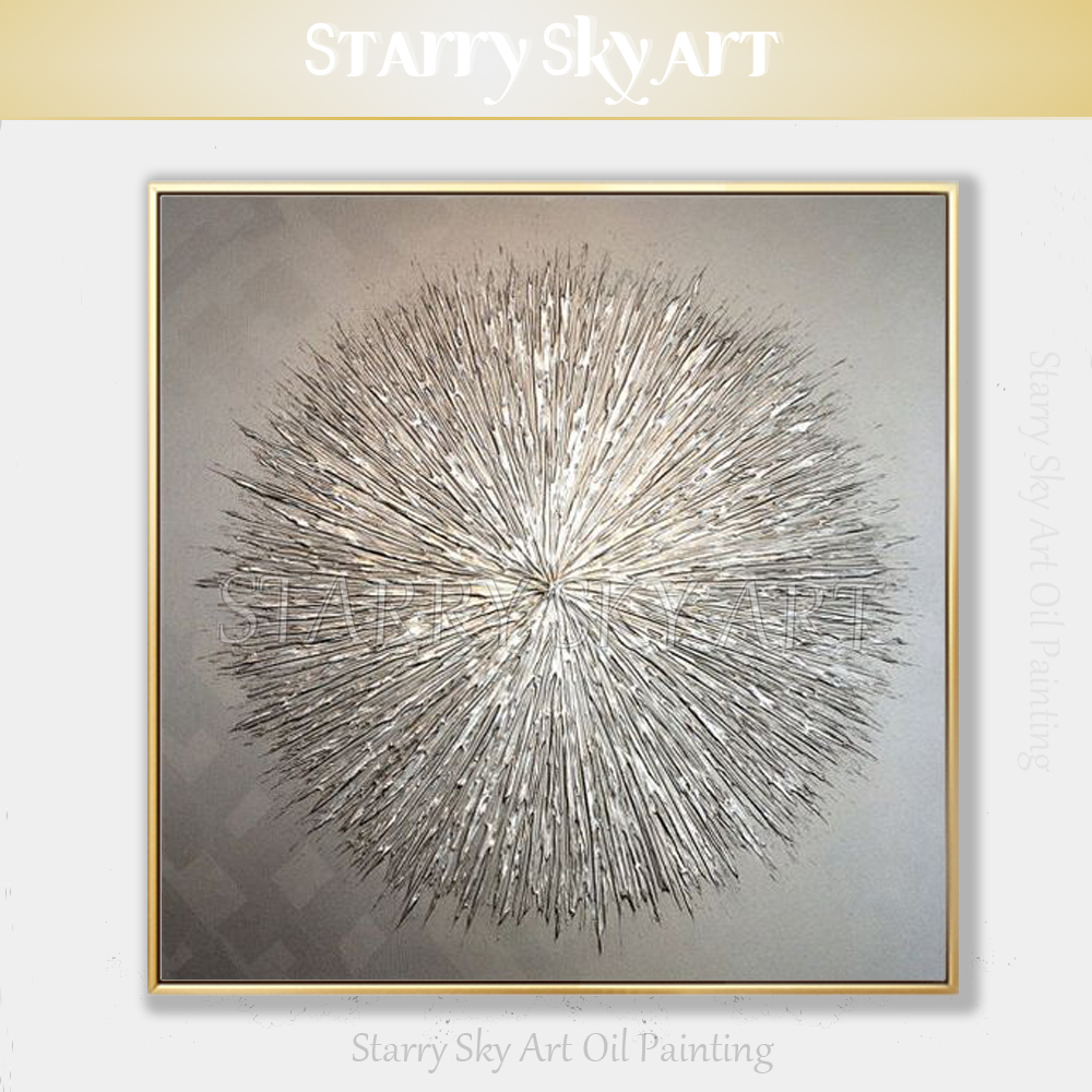 Special Oil Painting Artist Hand painted High Quality Silver Knife Thick Oil Painting Modern Abstract Grey Silver Oil Painting