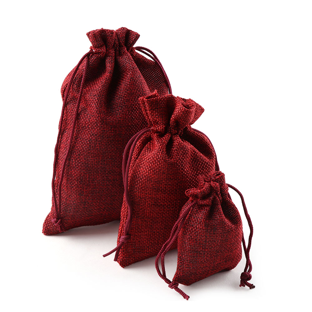 Image 3 - 10PCS Christmas Linen Jute Drawstring Gift Bags Sacks Wedding Birthday Party Favors Drawstring Gift Bags Baby Shower Supplies-in Gift Bags & Wrapping Supplies from Home & Garden