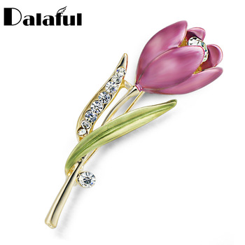 Elegant Tulip Flower Brooch Pin Crystal Costume Jewelry Clothes Accessories