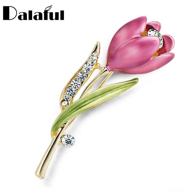 Elegante Tulip Fiore Spilla Pin di Cristallo Monili di Costume Abbigliamento Accessori Gioielli Spille Per La Cerimonia Nuziale Z014