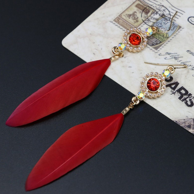Long Crystal Red Feather Earrings For Women