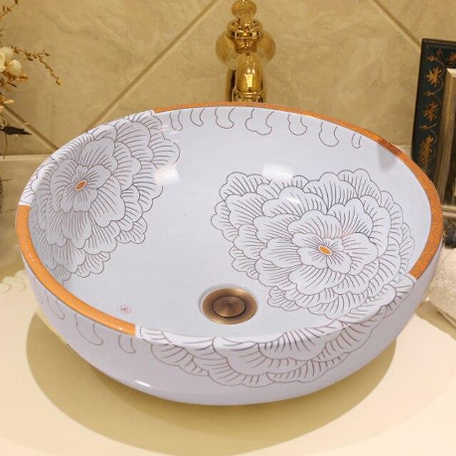Chinese Handmade Flower Modern Artistic White Vessel Sink Ceramic Bathroom  Sink Round Wash Sink