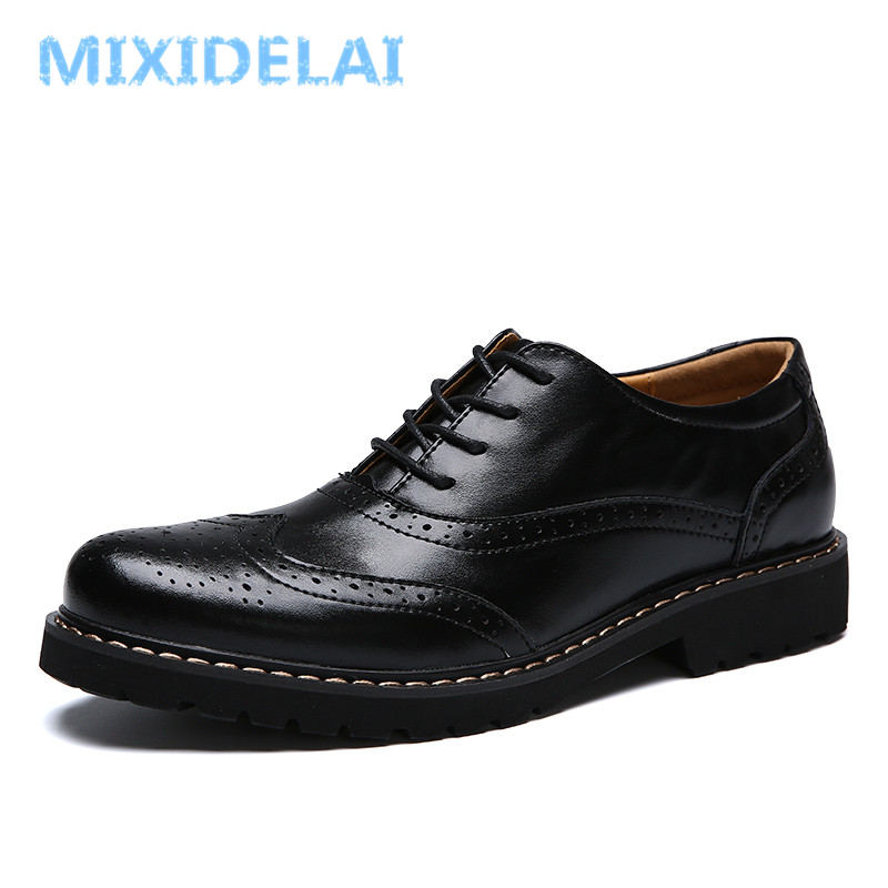 MIXIDELAI Cow Leather Brogue Male For Men Shoes Adult New Spring Autumn Fashion Business Casual Men Dress Shoes Footwear Quality vesonal 2017 brand casual male shoes adult men crocodile grain genuine leather spring autumn fashion luxury quality footwear man