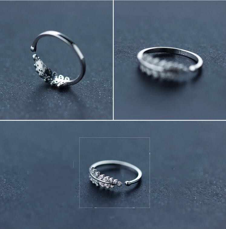 8c1438f82b ... Shuangshuo New Arrival Silver Plated Rings for Women Girl Jewelry  Crystal Stone Leafs Rings Adjustable Ring ...