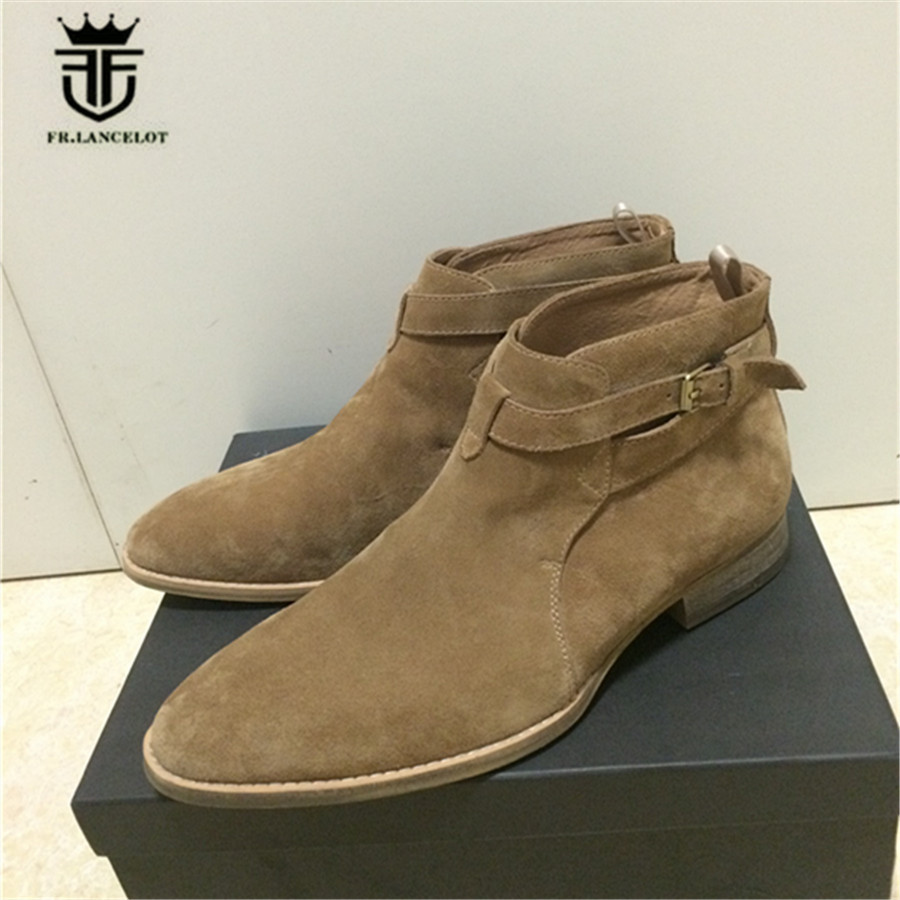 High End Handmade Men Pointed Toe Suede Ankle Strap Wedge Boots Beige color genuine leather wedding dress handsome Boots red men wedding dress shoes pointed toe ankle boots genuine leather botas hombre cowboy military boots metal decor men flats