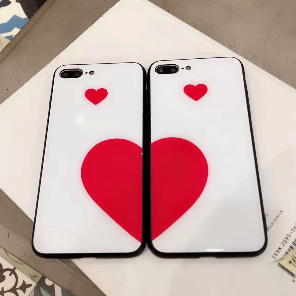 XBXCase Lovers Fashion Red Heart Case For iPhone 6 6S 7 Plus 7Plus 8Plus X TPU Rubber Soft Glossy Back Cover for iphone 8