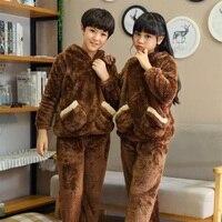 New Year Winter Children Pajamas For Boy Girls Warm Christmas Kid Thermal Flannel Pyjamas Coral Velvet