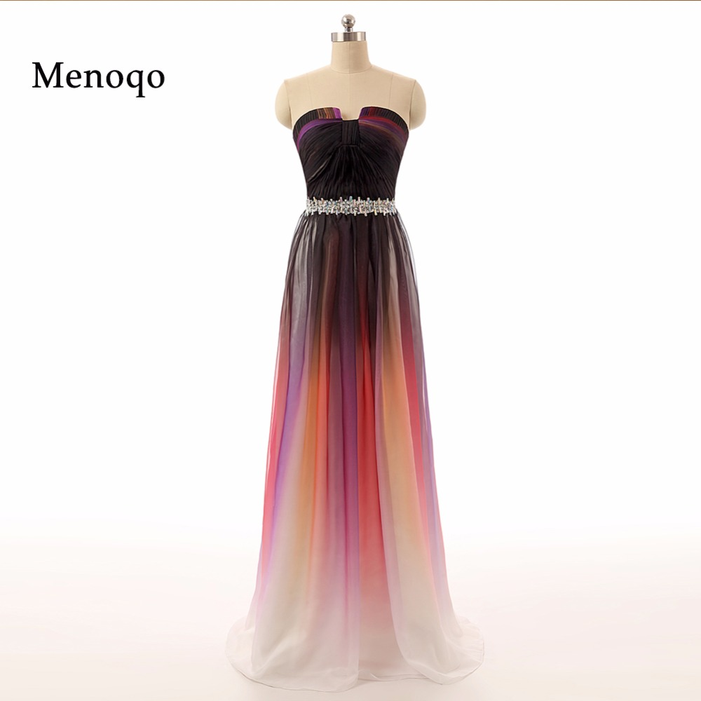 Ombre Dress Real Photo Long Prom Dresses 2019 Vestidos Strapless Gradient Ombre Chiffon Evening Dresses For Elegant Woman