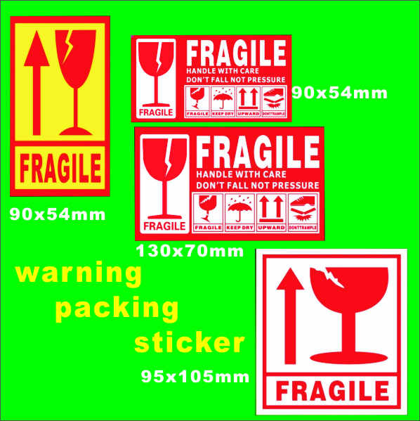 Stock warning packing sticker Care Shipping Label/Sticker  4 design can be choose