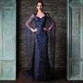2016 Azul Marino Con Lentejuelas Vestidos de Noche Con Mantón Gasa Kim Kardashian Sexy vestidos de La Celebridad Vestidos de Baile Tren de la Corte