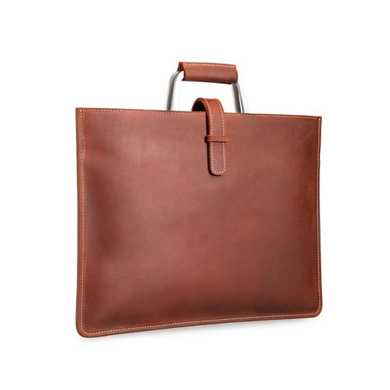 Crazy Horse Leather Handbag Slim Mens Laywer Document Bag Briefcases Cowhide Retro Business File Purse Shoulder Bag