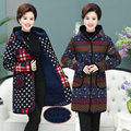 Mother installed autumn and winter coat jacket in the long section plus velvet thick middle-aged women's large cotton-padded jac