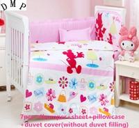 ¡Promoción! 6/7 piezas de dibujos animados bebé recién nacido Ropa de cama 100% algodón cortina saludable cuna Bumpert, 120*60/120*70 cm