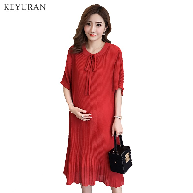 Elegant Summer Fashion Maternity Dress Pleated Red Chiffon Loose Clothes for Pregnant Women Korean Pregnancy Long Clothing Y173