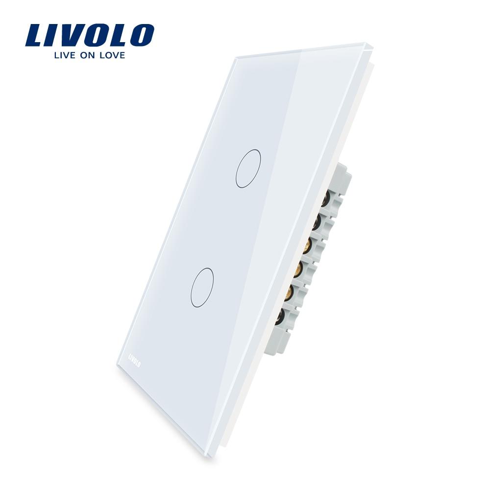 Fabricante de LIVOLO interruptor de pared 110 ~ 250 V blanco marfil de Panel de vidrio de 2 banda nos táctil interruptor de la luz VL-C502-11/12