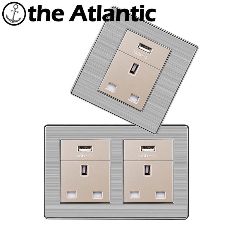 Atlantic Double 13A UK Standard Outlet with USB port Wall Power Socket Enchufe Stainless Steel Panel Electrical Plug 146*86mm uk standard 1 gang socket with 2 usb chargering 3 pin white glass panel wall socket and 2100ma usb wall plug outlet