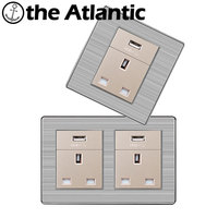 Atlantic Dubbele 13A UK Standaard Outlet met usb-poort Stopcontact Enchufe Rvs Panel Elektrische Plug 146*86mm