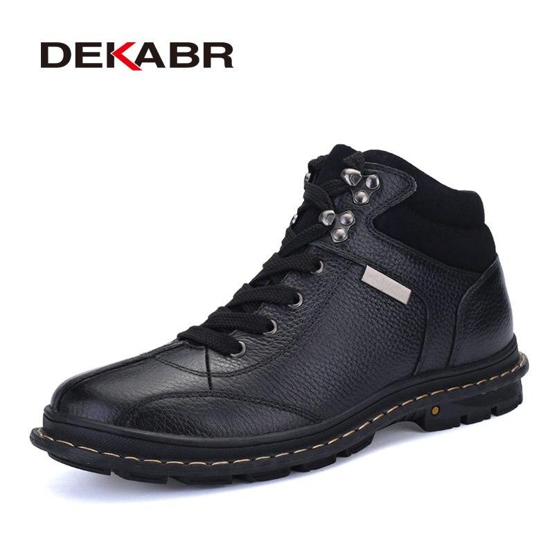 3210a0198 Купить DEKABR зимние ботинки из натуральной кожи для мужчин, новая зимняя  непромокаемая обувь, роскошные брендовые рабочие мужские ботинки из коротк.