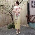 Peony Flowers Cheongsams Women Silk Cheongsams Dress Summer Sexy High Split Long Cheongsams Plus Size Chinese Traditional Qipao