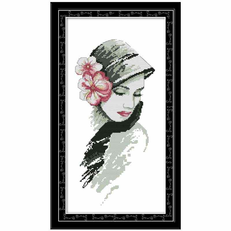 Pretty girl with flowers painting decor counted printed on the canvas DMC 11CT 14CT kits Cross Stitch embroidery needlework Sets