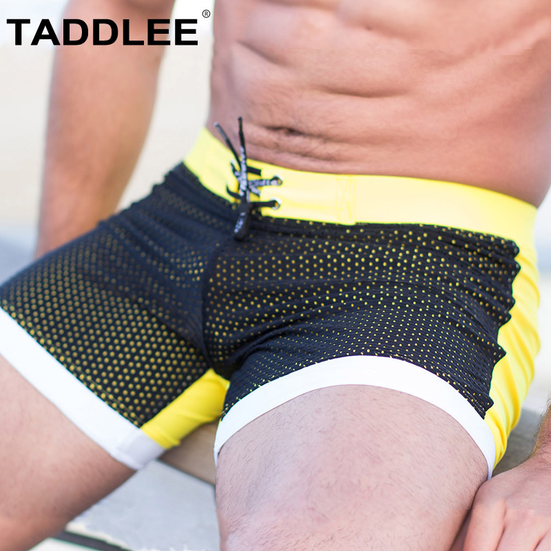 Taddlee Brand Sexy Men's Swimwear Swimsuits Men Swim Boxer Briefs Bikini Surf Board Trunks Shorts Pockets Long Basic Swimming цена