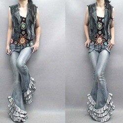 Mode Frauen Hohe Taille Jeans Damen Schicht Rüschen Nähte Dünne Flare X-lange Denim Hosen Cowboy Hose Schüler Outfits
