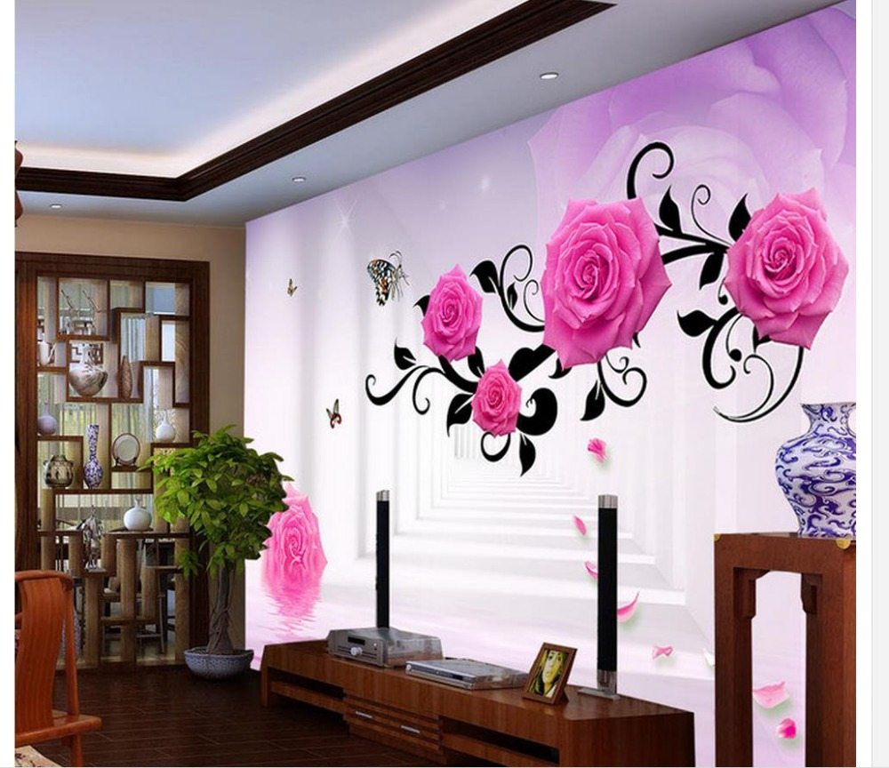 3d name wallpapers Roses Reflection 3D Space TV Backdrop wall mural photo wallpaper Home Decoration nid d ange брюки roses